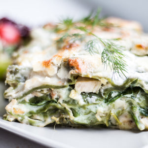 Vegetarian lasagna with organic vegetables and truffle cheese.