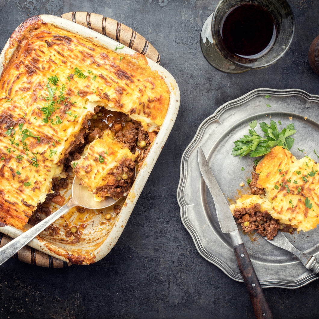 New Zealand beef cottage pie. Hormone free with organic veggies.