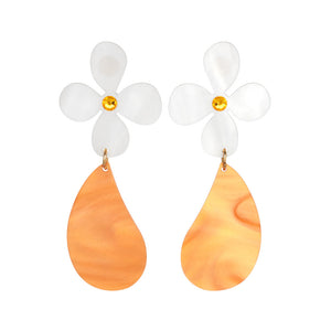 Toolally Earrings - Daisy Drop - Orange Pearl
