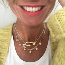 Load image into Gallery viewer, Chambers and Beau - Winging it Necklace - Silver Wing Gold Star