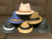 Load image into Gallery viewer, Short Brim Straw Fedora (Navy)