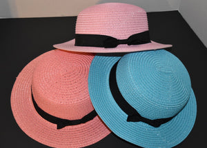 Spring Pastel Straw Boaters