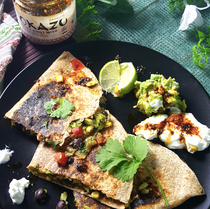 BLACK BEAN CORN AND EDAMAME QUESADILLAS