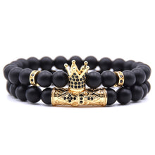 Load image into Gallery viewer, Gold Crown Couple's Beaded Bracelet with Matte Onyx