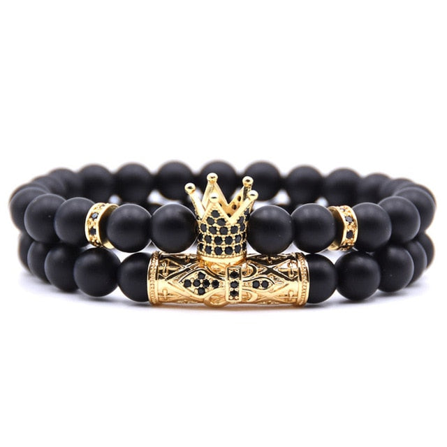 Gold Crown Couple's Beaded Bracelet with Matte Onyx