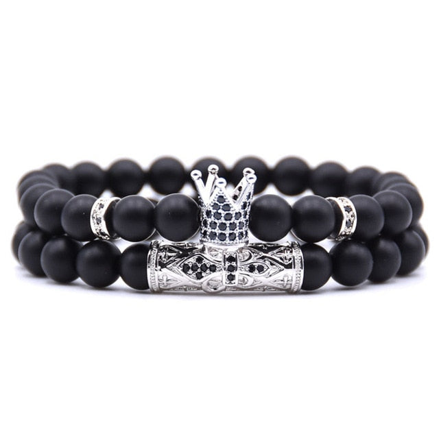 Silver Crown Couple's Beaded Bracelet with Matte Onyx