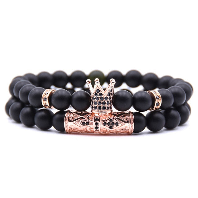 Rose Gold Crown Couple's Beaded Bracelet with Matte Onyx