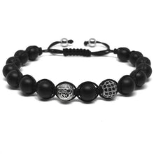 Load image into Gallery viewer, IRBACOO 2020 Luxury Men Bracelet  CZ Disco Ball & Metal Ornament Bead With Matte Onyx Stone Macrame Bracelets For Men Women