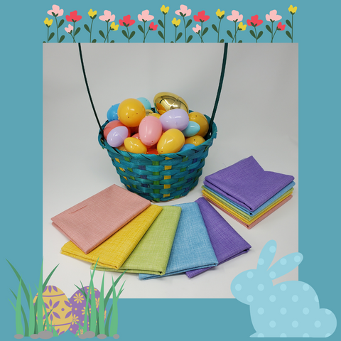Easter basket with eggs and Dublin fat quarters in spring colours