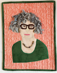 Quilted Self Portrait of Marijke from My Creative Quilts