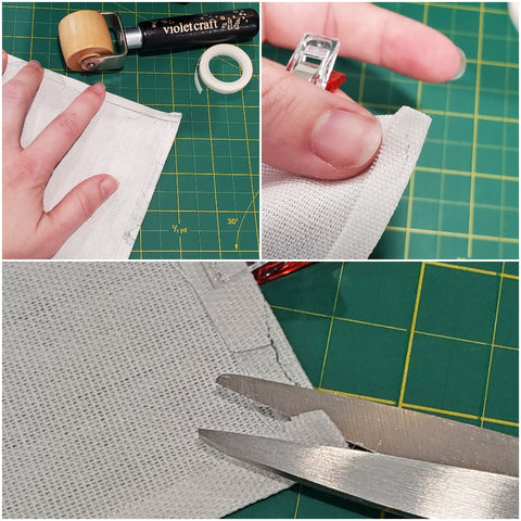 Showing how to do the pocket edges