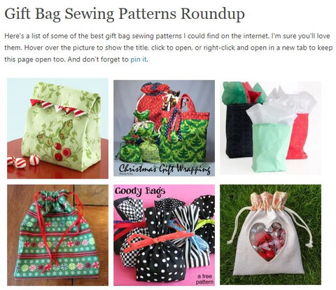 Snip from So Sew Easy Christmas Gift Bags post