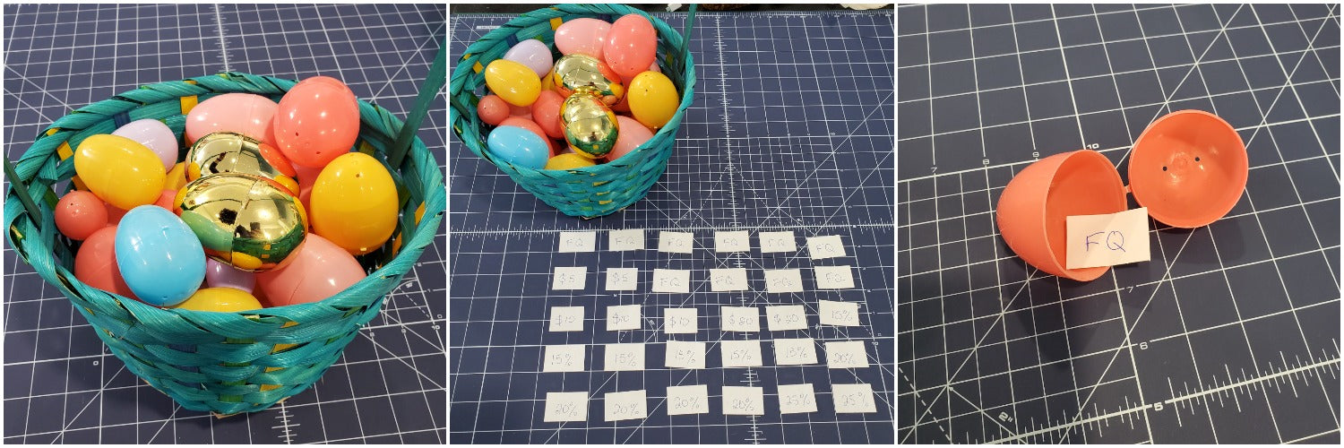 Photo collage showing the basket with eggs, the prize distribution and a sample egg draw