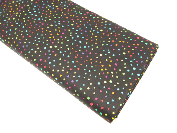 Math & Science - Rainbow Dots - COLOR-C3151 BLACK (1/2 Yard)