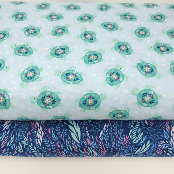 You, Me & The Sea - Turtles (Crystal) - Stella-1569 (1/2 Yard)