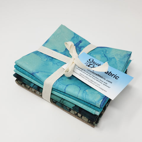 Hand-Cut Fat Quarter Bundle - Northcott Teal Bundle (6pc)