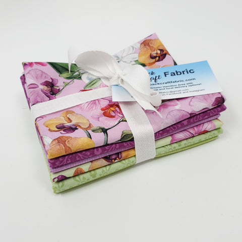 Hand-Cut Fat Quarter Bundle - Northcott Orchids in Bloom Bundle (6pc)
