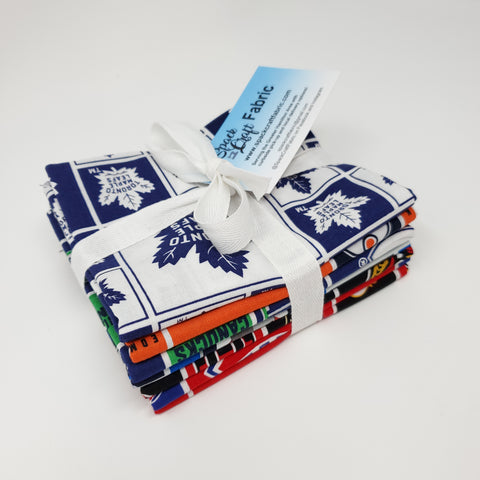 Hand-Cut Fat Quarter Bundle - NHL Canadian Hockey Teams (7pc)