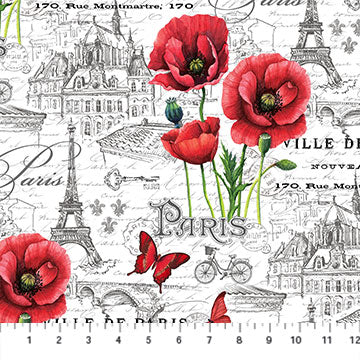 Ooh La La! -  Paris and Poppies - 23563-10 (1/2 Yard)