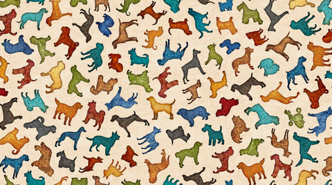 Must Love Dogs - Silhouette Toss - 26937 E (1/2 Yard)