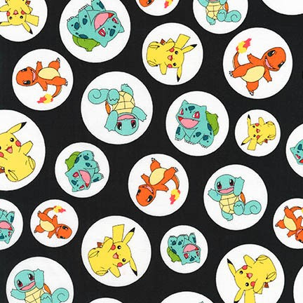 The Pokemon Co - Starters - AOP-17721-2 Black (1/2 Yard)