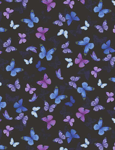 Pansy Paradise - Butterfly - Butterfly-C7726 BLACK (1/2 Yard)