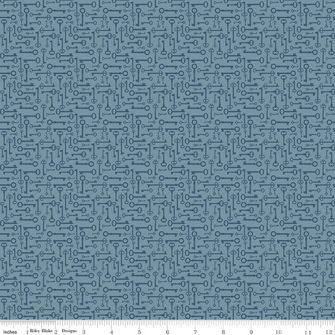 Bloom and Grow - Blue Keys - C10114-BLUE (1/2 Yard)