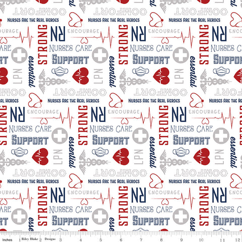 Nobody Fights Alone - Nurses Care - C10422-RED (1/2 Yard)