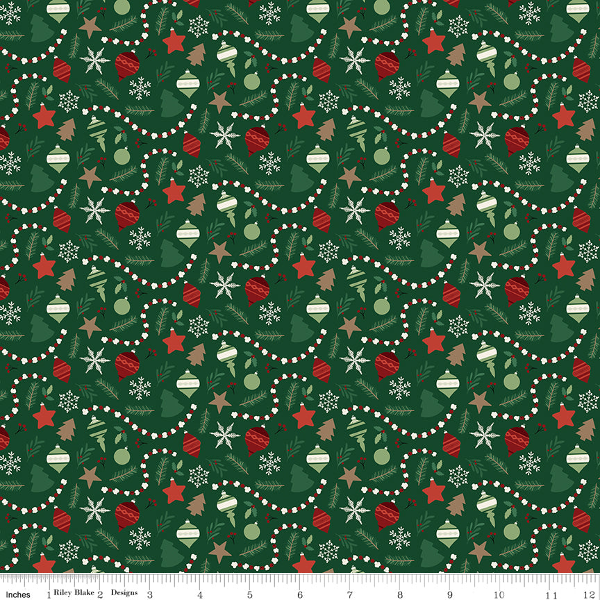 Christmas Traditions - Dark Green Ornaments - C9592-DKGREEN