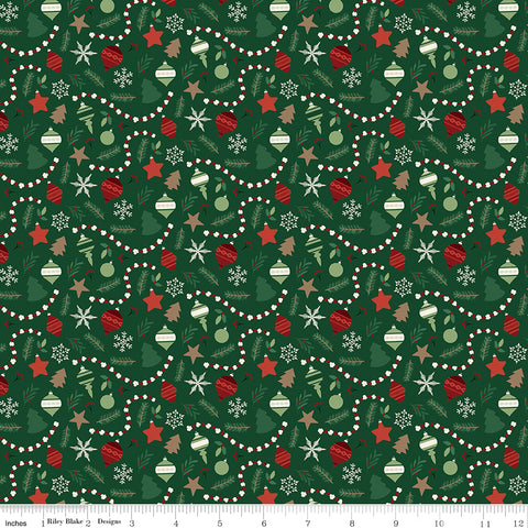 Christmas Traditions - Dark Green Ornaments - C9592-DKGREEN (1/2 Yard)
