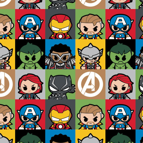 Kawaii Marvel II - Mini Heroes Blocks - CAM13020867-1 (1/2 Yard)