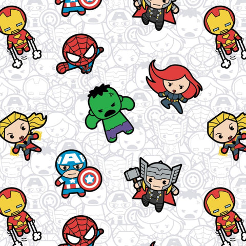 Kawaii Marvel II - Action Packed Heroes (white) - CAM13021000-1 (1/2 Yard)
