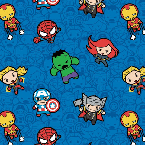 Kawaii Marvel II - Action Packed Heroes (blue) - CAM13021000-2 (1/2 Yard)