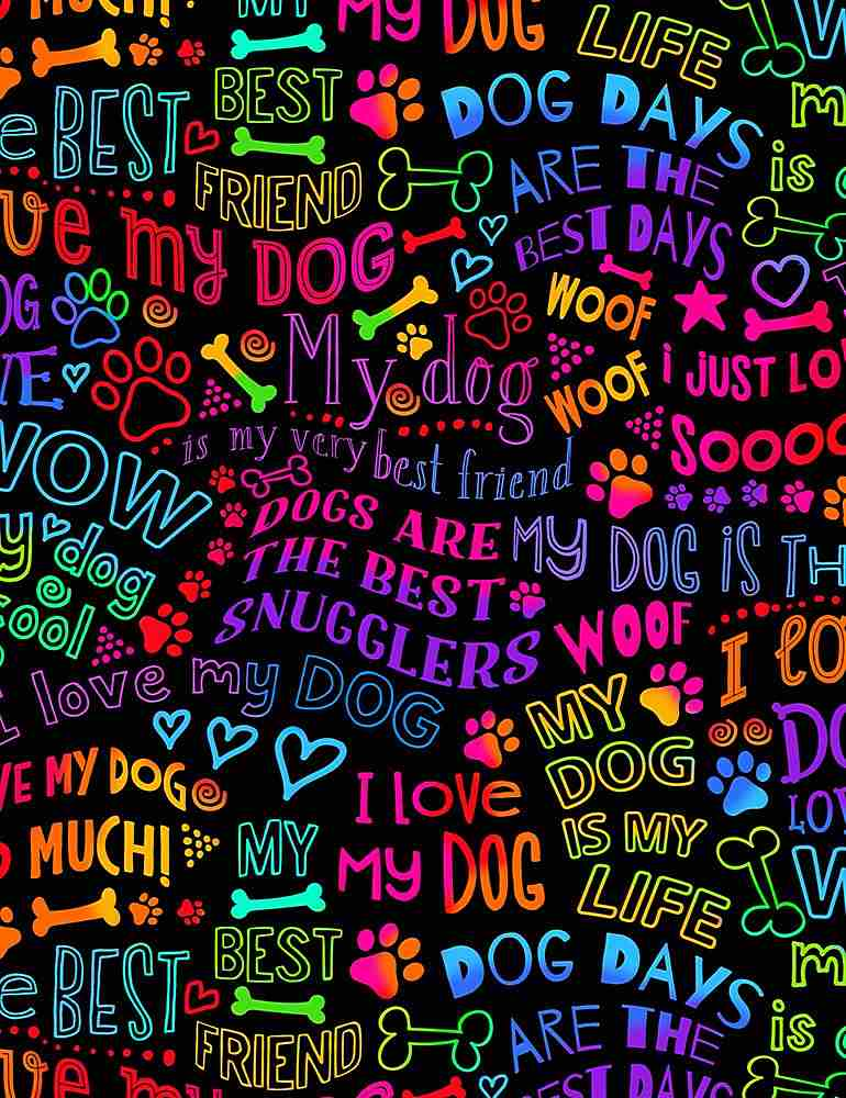 Dogs Best Friends Rainbow Writing - GAIL-C7032 BRIGHT (1/2 Yard)