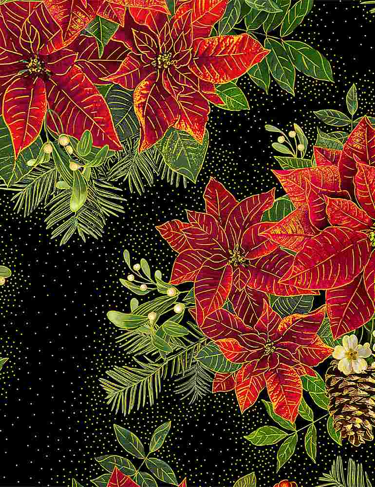 Holiday Spice - Large Metallic Poinsettia Bouquet - CM8512-Black (1/2 Yard)