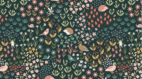 Fawned of You - Critters & Fairies (Charcoal) - Stella-1563 (1/2 Yard)