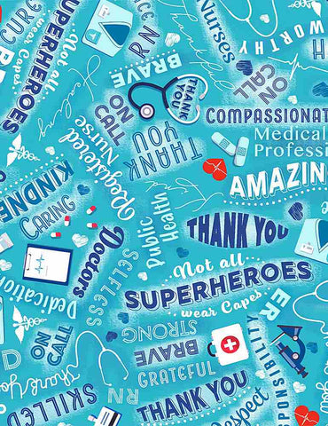 Everyday Heroes - Medical Heroes - THANKS-C8419 AQUA (1/2 Yard)