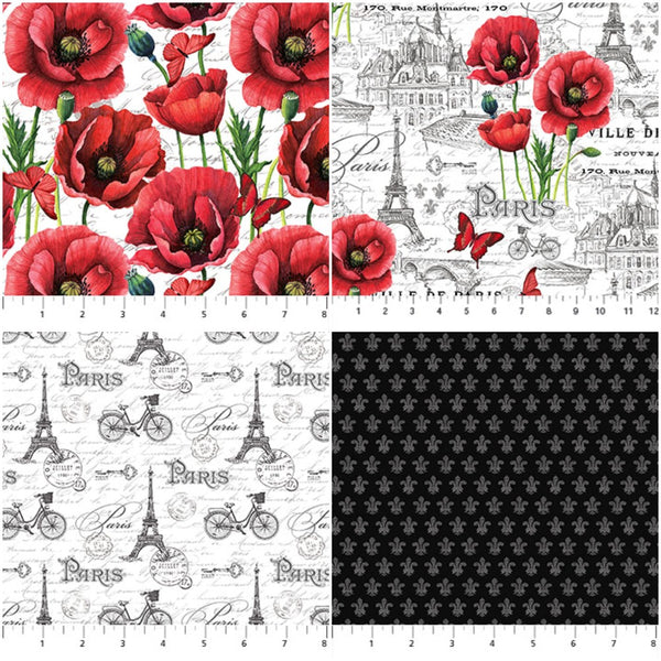 Hand-Cut Fat Quarter Bundle - Northcott Ooh La La Bundle (6pc)
