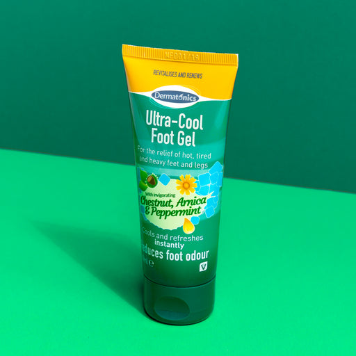 Dermatonics Ultra-Cool Gel to cool aching feet and joints contains chestnut, arnica, and peppermint to quickly cool the body.