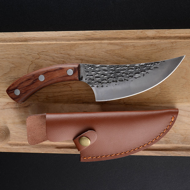 Hand Forged Boning Knife with Leather Sleeve