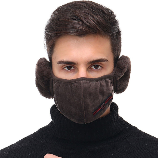 2 in 1 Men's Velvet Earmuffs Mask