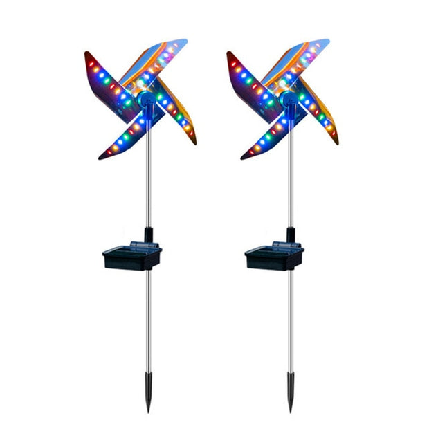 2pcs LED Solar Garden Windmill