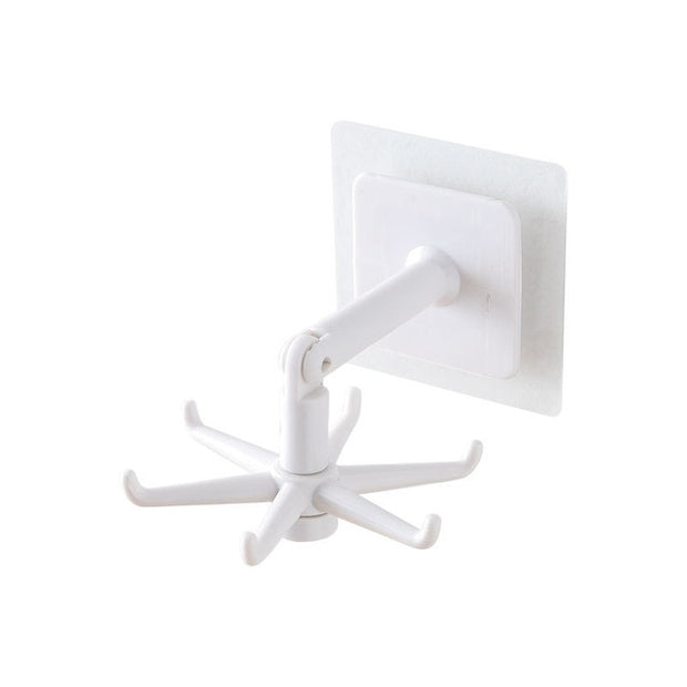 Punch free Wall Rotatable Hook Organizer