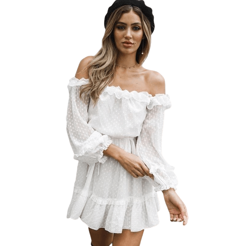 Chiffon Color Off-Shoulder Dress - Beauty and Trends