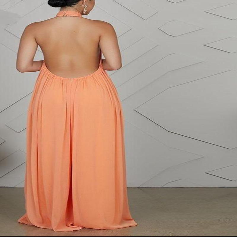 2021- Ladies Chiffon Backless Jumpsuits