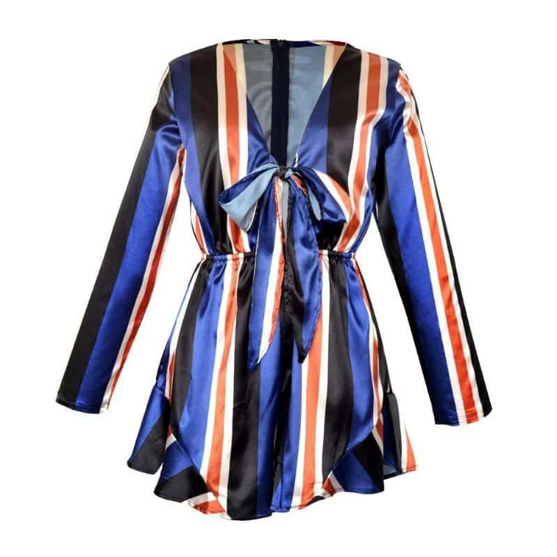 USA SIZE Sexy Deep V Bow Women's Jumpsuit Casual Vacation Wind Stripe Long Sleeve Shorts Women's - Beauty and Trends