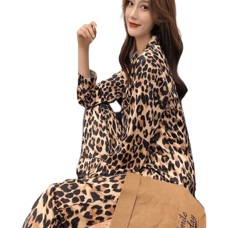 Ladies Leopard Print Pajama Set - Beauty and Trends