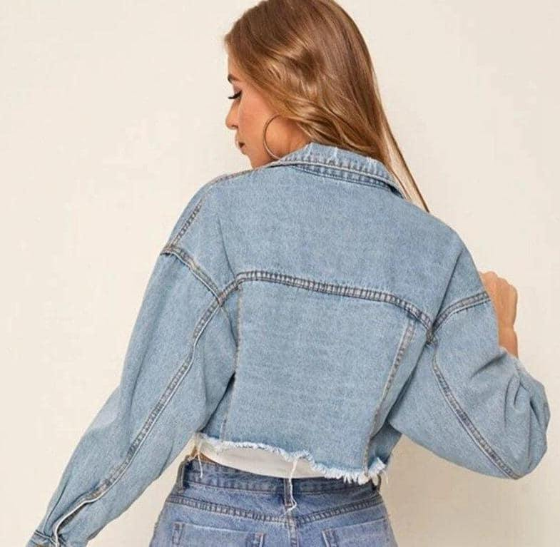 Ladies Ripped Denim Jacket | Ladies Jacket