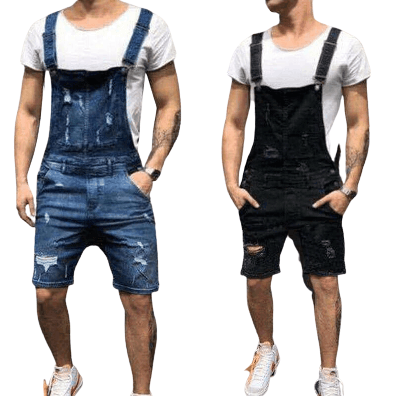 Men's Ripped Jeans Jumpsuit