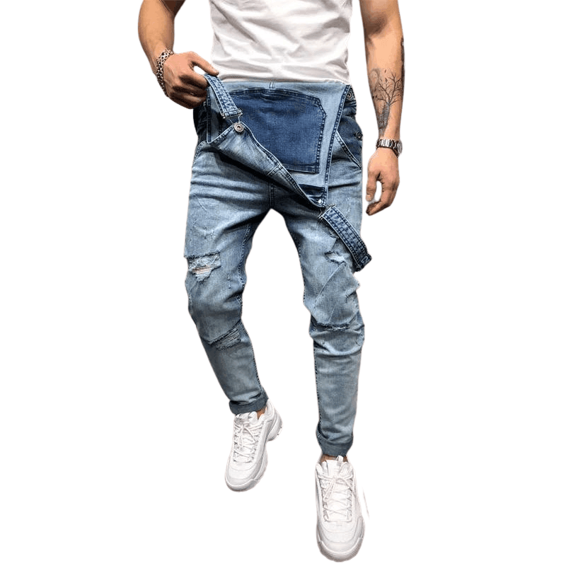 Men's Ripped Jeans Jumpsuits
